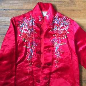 Vintage Red Hand Embroidered Silky Jacket
